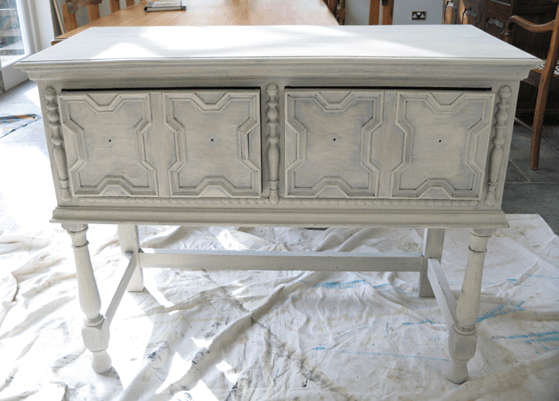 Distressing Furniture by Using White Spray Paint