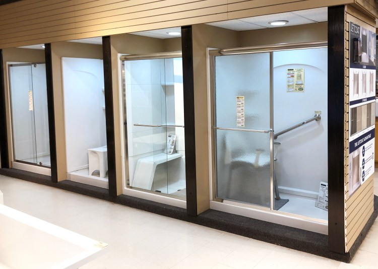 Sterling display with four shower styles