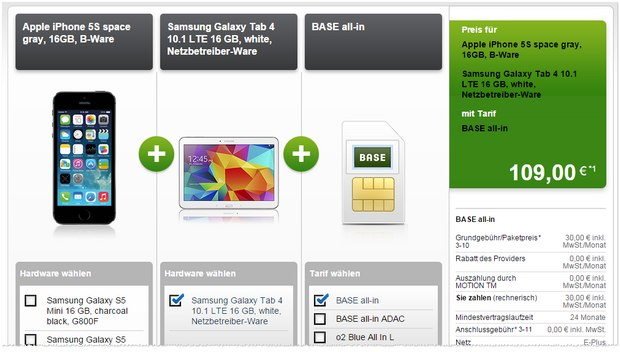 BASE all-in + iPhone 5S B-Ware bei Modeo