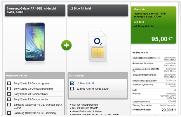 Samsung Galaxy A7 + o2 Blue All-in M bei Modeo