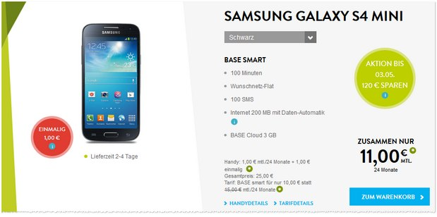 BASE smart + Samsung Galaxy S4 mini für 11 €