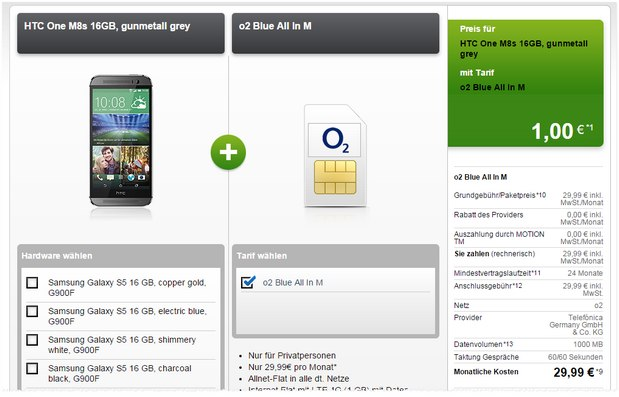 HTC One M8s + o2 Blue All-in M bei Modeo