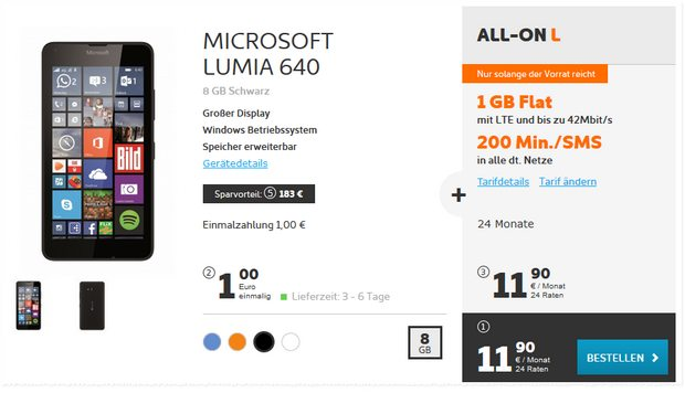 Simyo All-on L + Microsoft Lumia 640 für 1 €