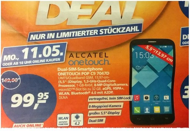 Alcatel One Touch Pop C9 als Real Deal des Tages