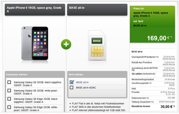 BASE all-in + iPhone 6 (Grade A) bei Modeo für 169 € Zuzahlung