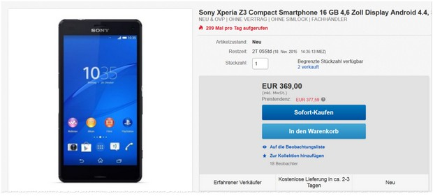 Sony Xperia Z3 compact als eBay WOW Angebot