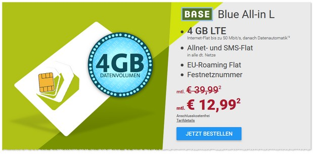 BASE Blue All-in L: 12,99 Euro pro Monat