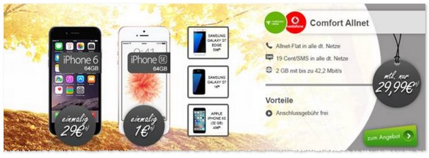 Vodafone Comfort Allnet Tarif + iPhone SE (64GB)