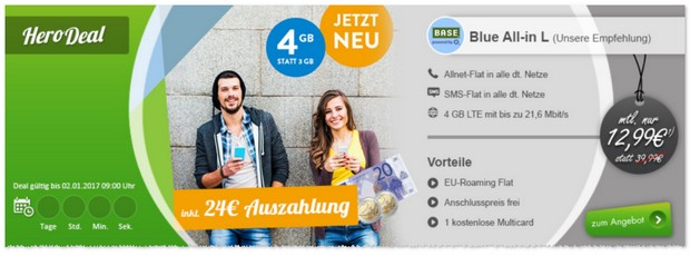 BASE Blue All-in L (4GB) mit Auszahlung / Cashback