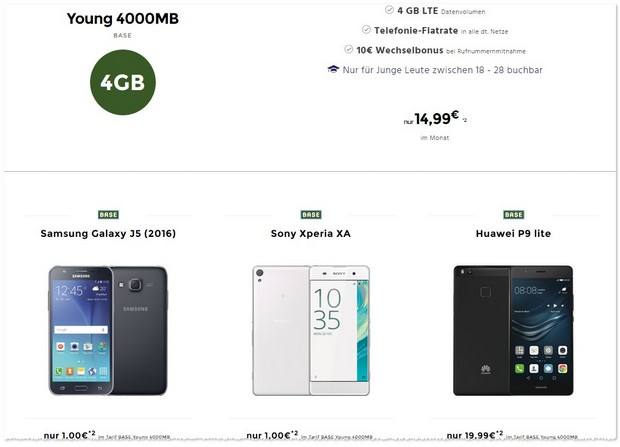 BASE Young (14,99 €) mit Handy ab 1 Euro