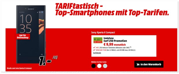 Vodafone Surf 250 Promotion + Sony Xperia X Compact