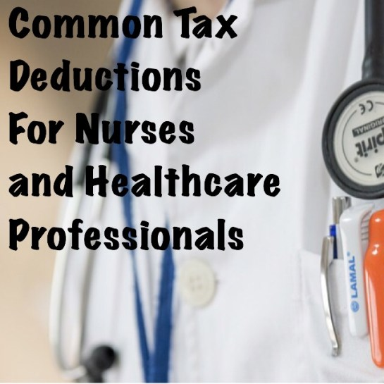 Nursing tax deductions. White coat with common tax deductions for healthcare professionals like pharmacists and doctors.