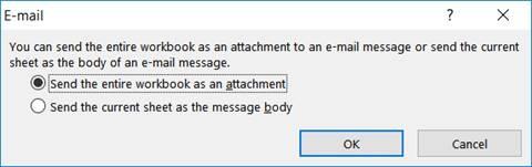 E-mail vanuit Excel keuze