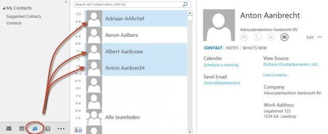 Eén of meerdere contactpersonen met Ctrl + selecteren