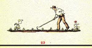 Moorbauer beim Jäten des Unkrauts zwischen seinem Kohl