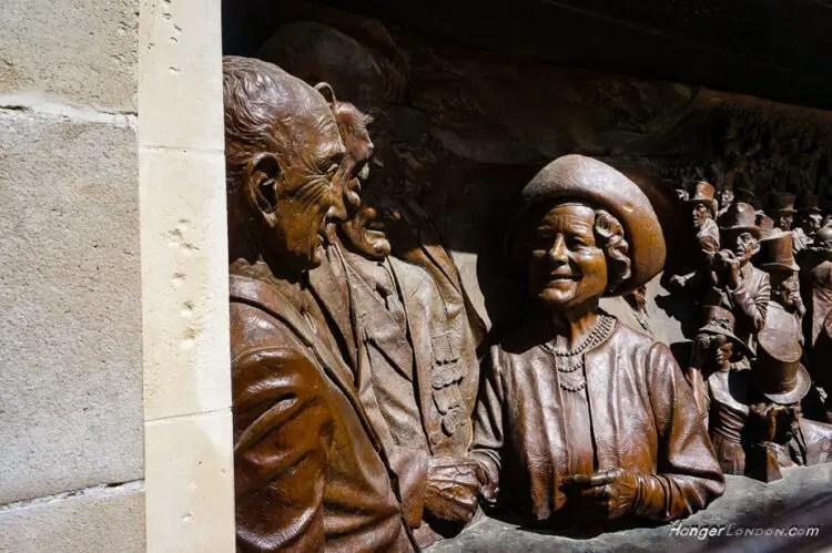 Queen Mother Bronze Frieze memorial by Paul Day