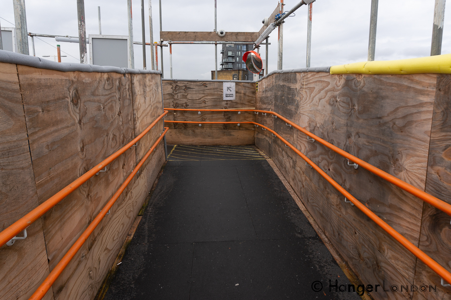 Hackney Wick walkway from the overground platform during construction