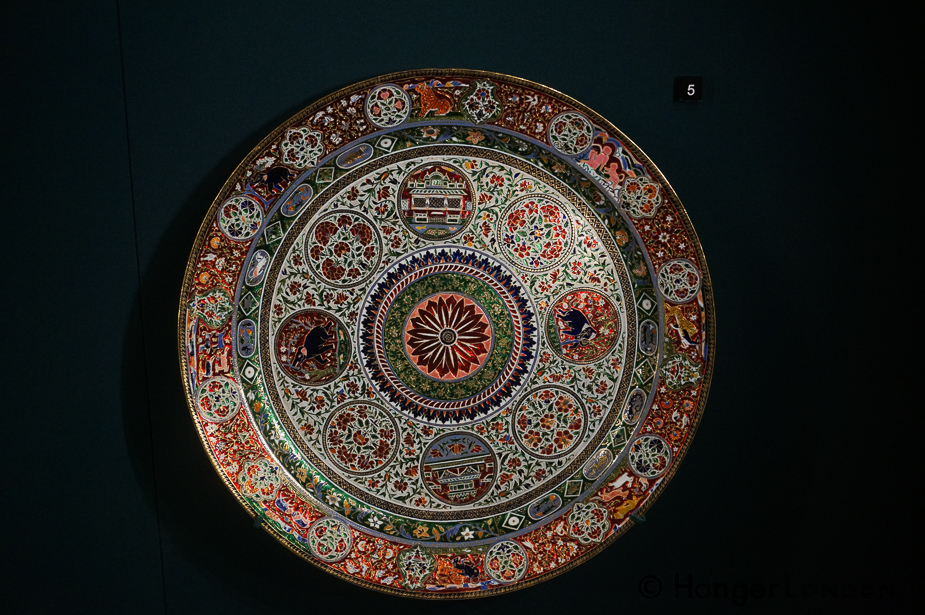 Salver A Gift from Ram Singh II Maharaja of JAipur 1876 Gold, Enamel. This plate and plates like it could take 4 years to make.