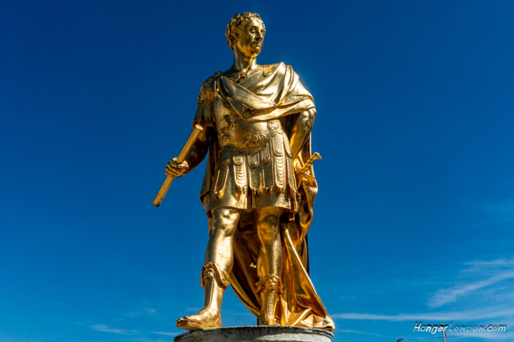 King Charles II golden colour statue