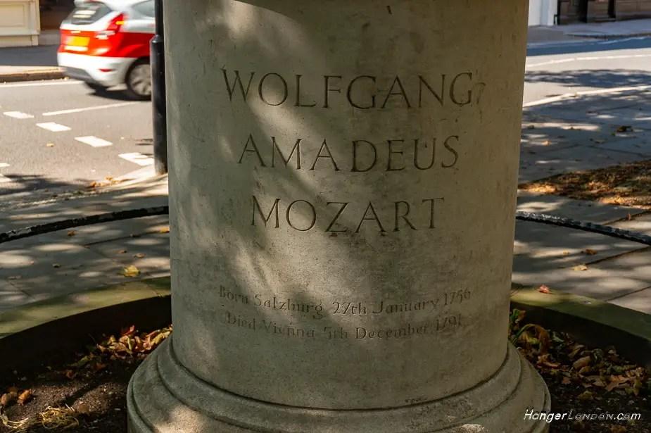 Mozart Statue Belgravia base stone text