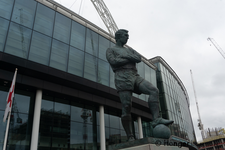 Side view Bobby Moore Statue Outside Wembley Stadium byRoyal Sculptor Philip Jackson it stands 6.1meters high / 20 Feet in Bronze 2007