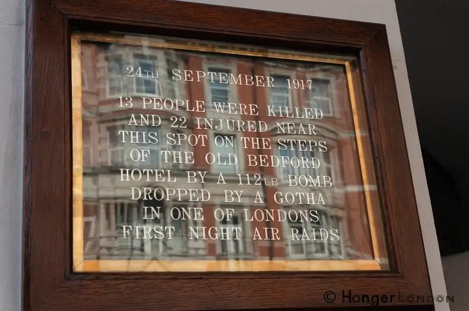WW1 bomb drop plaque 24th Sept 1917 Bedford Hotel 83- 93 Southampton Row, London WC1B 4HD