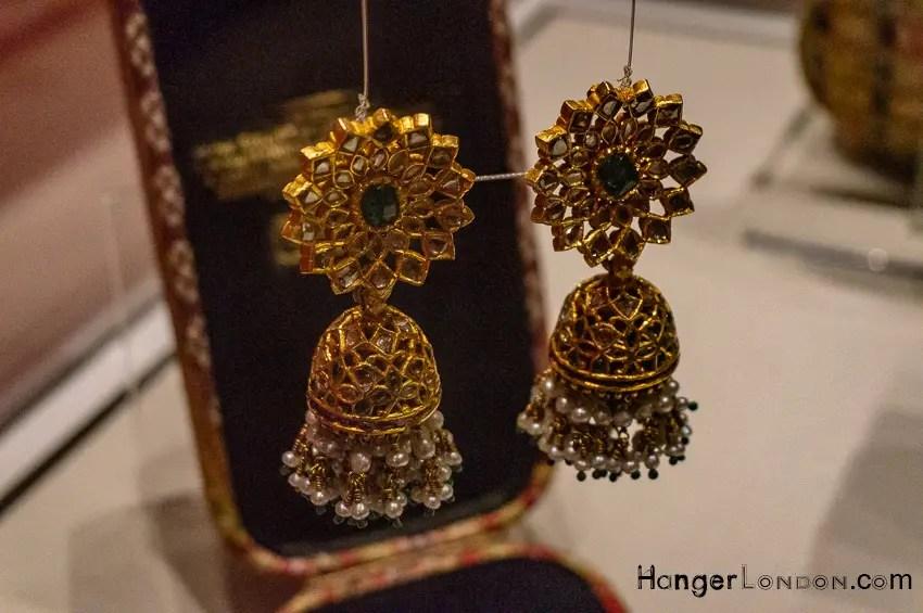 Karanphool Jhumka. gold Earrings Empire of the Sikhs Exhibition Brunei Gallery