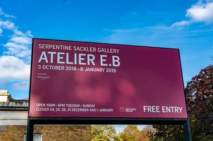 Sackler Gallery Serpentine Atelier E.B Exhibition