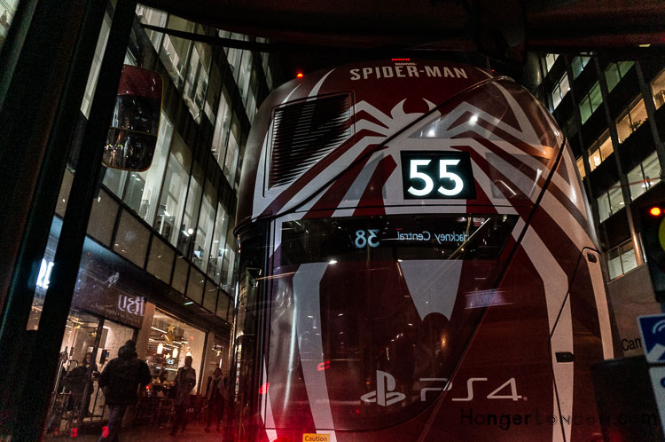 Back of a SpiderMan 55 Bus