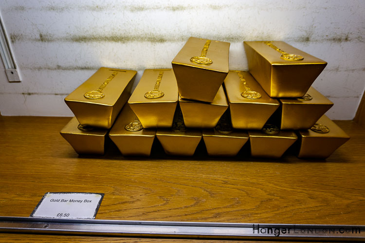 Giftshop gold bar box shaped money box items Bank of England Museum
