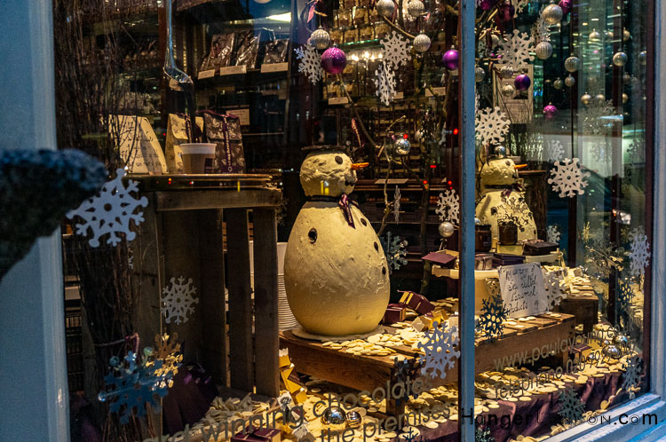 Paul Young chocolate shop christmas window decoration snowman