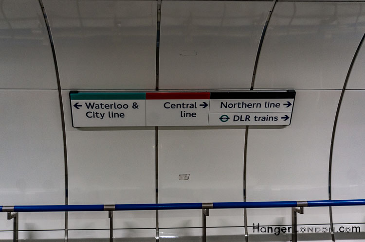 Walbrook Bank Underground tunnel signage Central Line, Waterloo & City Line, Northern Line, DLR