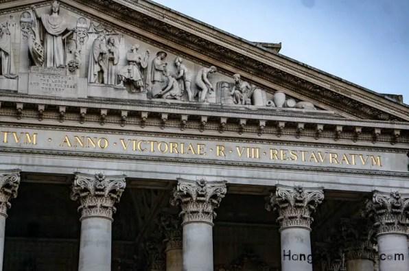 Royal Exchange Portico Pediment sculptured Frieze and Latin inscription