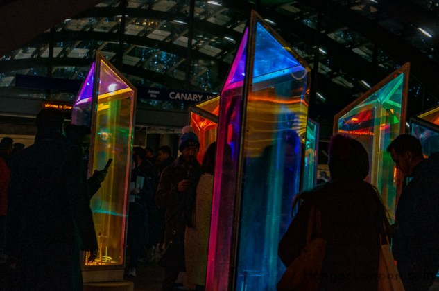 Prismatica spinning prisms at night at winter Lights, Canary Wharf