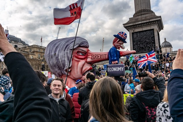 brexit rally march PM May puppet