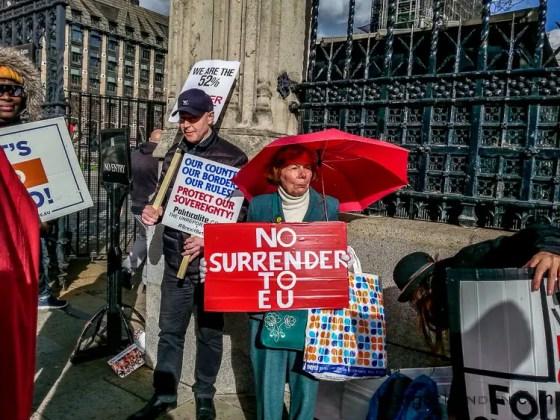 Sign saying No Surrender to EU protestors parliament