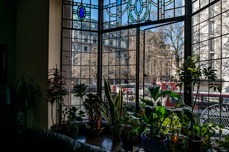 Window from inside the India Club on the Strand