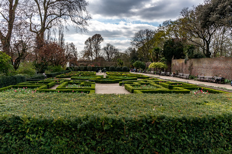 Dutch Garden Holland park set out in a geometric structure