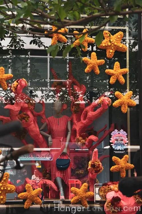 Red dress and orange Star Fish Hugo Boss