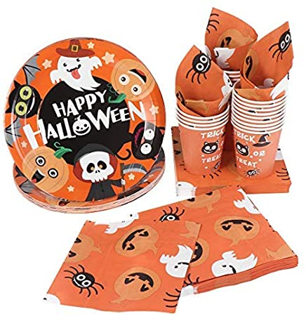 Halloween Disposable Dinnerware Set -Serves 24 - Hemoton Paper Tableware Halloween Party Supplies Including 24 Paper Plates, 48 Napkins and 24 Cups 1