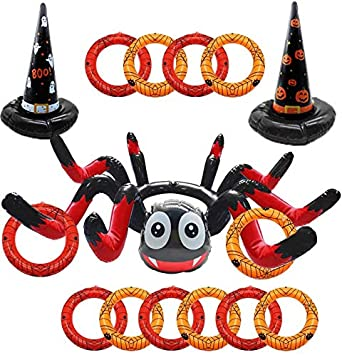 LANWANGJI Halloween Ring Toss Game 3 Pcs Inflatable Spider Witch Hat Ring Toss Game with 10 pcs Rings, Perfect for Halloween Party Favors Halloween Party Game 1