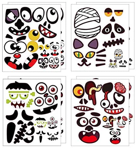 DTMEFJ 16 Halloween Pumpkin Decoration Stickers,Halloween Squashes Face Stickers,56 Cute Emoji Crafts Stickers Halloween Party Supplies Creative for Kids 1