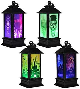 DIFIER 4 PCS Halloween night light LED colorful gradient night light Christmas decoration props lighthouse skull pumpkin bat skeleton 1
