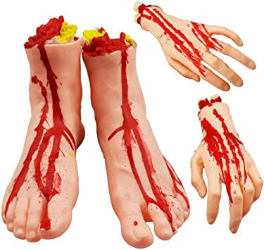 Gimsan Halloween Fake Bloody Severed Hands Feet - Scary Bloody Broken Body for Haunted House Halloween Zombie Party Decorations, 4 Pieces (Feet & Hands) (Skin Color) 1