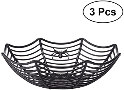 PRETYZOOM 3pcs Spooky Cute Plastic Spider Web Fruits Candy Basket Bowl Spiderweb Basket Halloween Party Decor (Green) 1