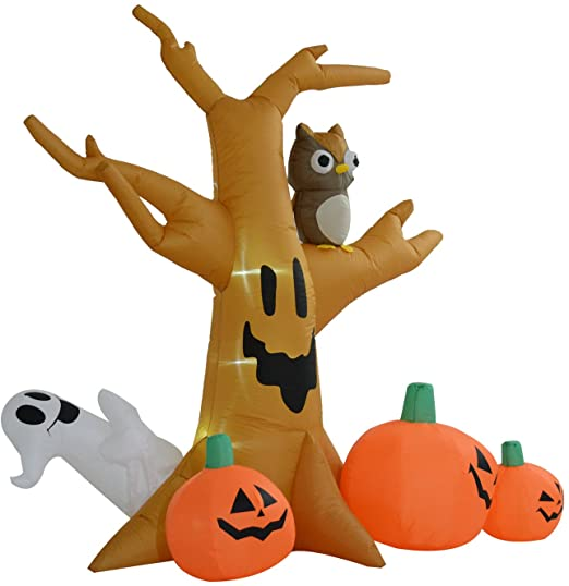 HOMCOM 240cm Large Halloween Scary Lighting Inflatable Tree Ghost 3 Pumpkins Owl 4 LED Indoor Outdoor Holiday Decoration 1