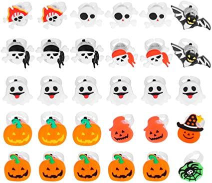 Tomaibaby 30pcs Halloween LED Light Up Rings Glow in The Dark Party Supplies Treat Bag Fillers Class Prizes Flashing Rings for Kids Children (Random Style) 1