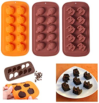 Halloween Chocolate Mould Silicone Fondant Moulds Skull Bat Pumpkin Ice Cube Tray Candy Cookies Soap Dessert Baking Mold for Cake Decorating Cupcake Decor Sugarcraft DIY Pack of 3 1