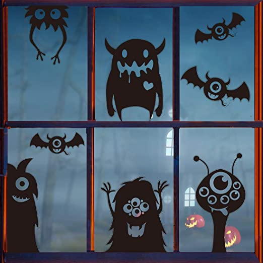 VEYLIN Halloween Window Clings Decoration, 8 Giant Novelty Wiggle Black Monster Stickers Holiday Party Decal Supplies 1