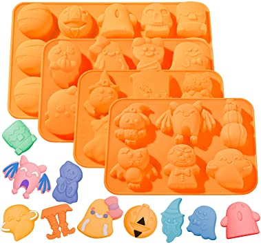Whaline 4pcs Halloween Silicone Baking Molds, Pumpkin Chocolate Mould Witch Ghost Candy Molds, Bat Ice Cube Trays for Halloween Baking DIY Tools Cake Pudding Pie Soap Muffin 1